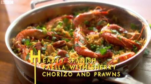 lorraine pascale hearty paella with chorizo