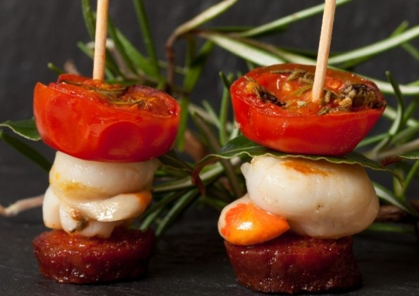 Yorkshire Chorizo and scallop with roast tomato